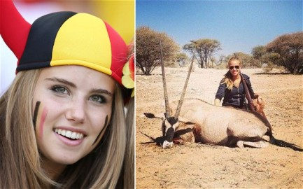 Belgium World Cup fan Axelle Despiegelaere and a photo taken from her Facebook page of her hunting Photo: Getty Images/Facebook