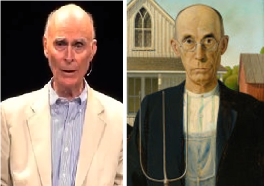 On The Right Is Farmer From Grant Woods American Gothic 1930 Modeled Dentist Dr Byron McKeeby