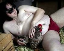 Joel Watts and his chicken