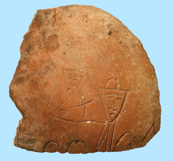 Detail of inscribed sherd from an Iron II vessel found during excavations by Duncan and Macalister in Jerusalem, 1923-25. It has been recently proposed that the image represents 'Yahweh and his Asherah'
