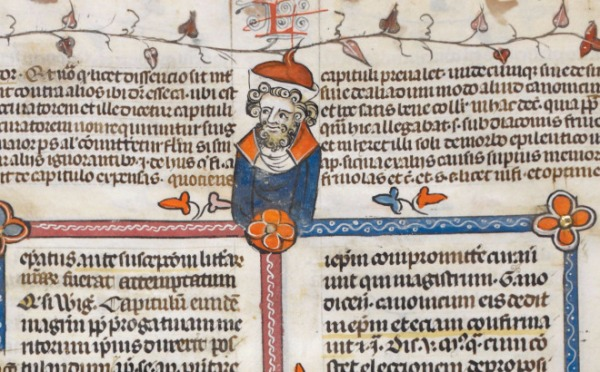 One of the less demonic academics inhabiting the pages of the Decretals of Gregory IX with gloss of Bernard of Parma (the 'Smithfield Decretals') (c1300-1340), British Library Royal MS 10 E IV, f. 26v. This one is wearing the academic's