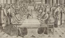 Auf der linken Seite des Tisches sitzend: Luther, Zwingli, Calvin, Melanchthon, Bugenhagen und Oecolampad. Radierung, 1650, Zentralbibliothek Zürich
