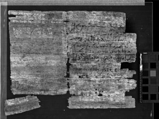 P.Ryl.Greek Add. 1166 back: the lighter stripes visible especially on the left half of the papyrus match with cell tape that was found in an envelope with the papyrus.