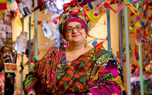 ...Mcc0052063 . Daily Telegraph DT News Camila Batmanghelidjh, Director and Founder of Kids Company, alongside art works produced by children and young people, in the Gallery