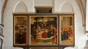14.4.2009: Reformation altarpiece by Lucas Cranach the Elder (1472-1553) in the Stadtkirche St Marien, Wittenberg.