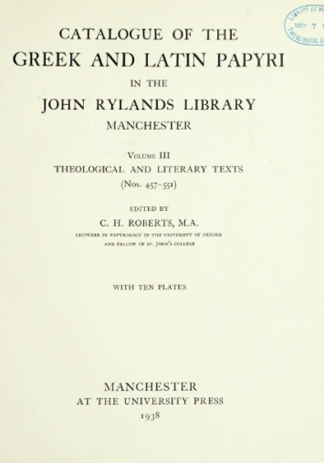 rylands papyri vol 3